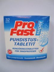 PROFAST PUHDISTUSTABLETIT PROTEESEILLE X32 TABL