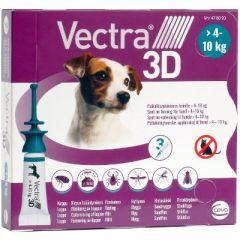 VECTRA 3D 87/7,7/635 mg paikallisvaleluliuos (koirille 4-10 kg)3x1,6 ml