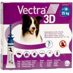 VECTRA 3D 196/17,4/1429 mg paikallisvaleluliuos (koirille 10-25 kg)3x3,6 ml